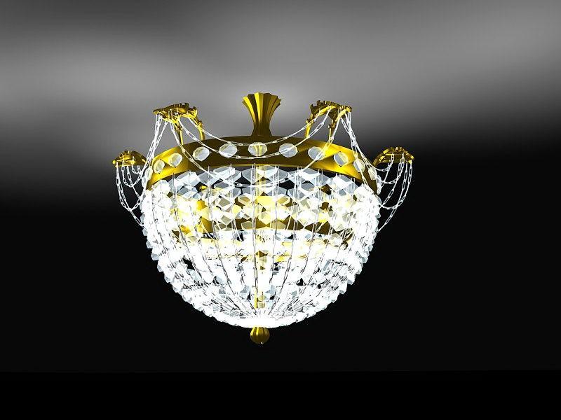 Modern Crystal Chandelier 3d rendering