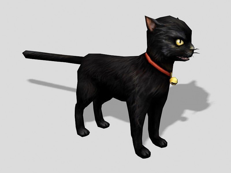 Small Black Cat with Collar 3d rendering