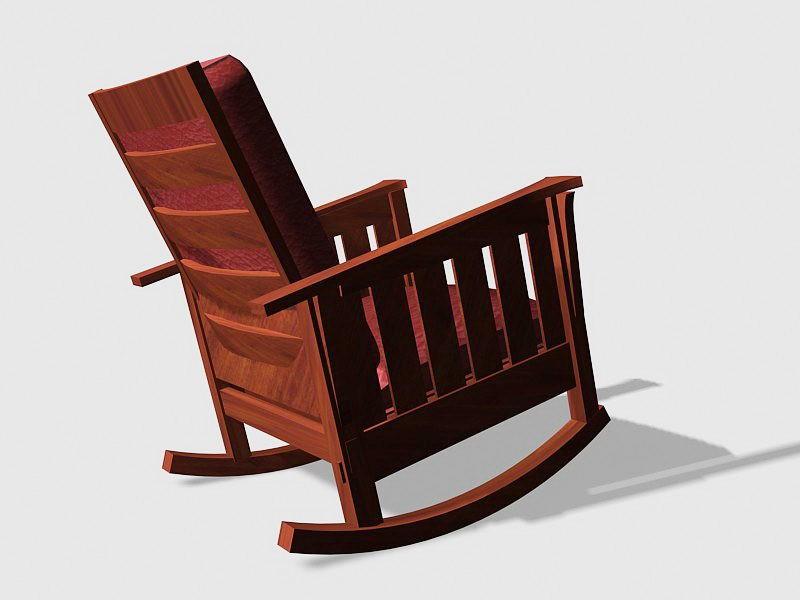Vintage Wooden Rocking Chair 3d rendering