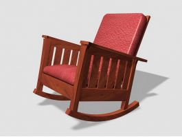 Vintage Wooden Rocking Chair 3d preview