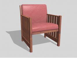 Vintage Wood Club Chair 3d preview