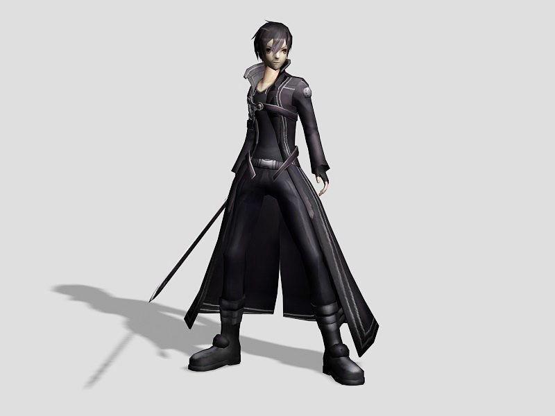 Anime Boy Kirito 3d rendering