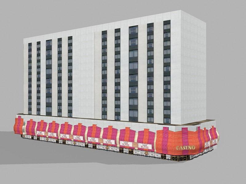 Casino Hotel Exterior 3d rendering