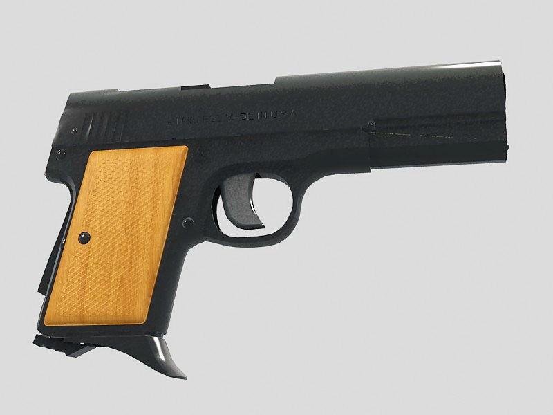 AMT .380 Pistol 3d rendering