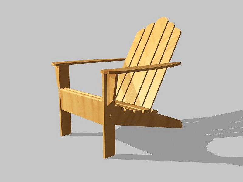 Outdoor Adirondack Chair 3d rendering
