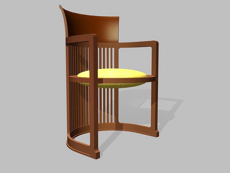 Vintage Tub Shaped Barrel Chair 3d rendering