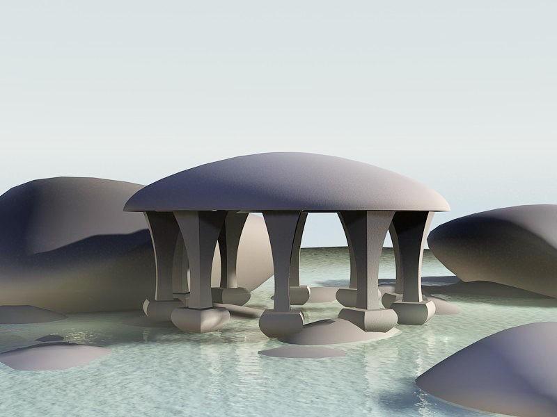 Sunset Beach Pavilion 3d rendering