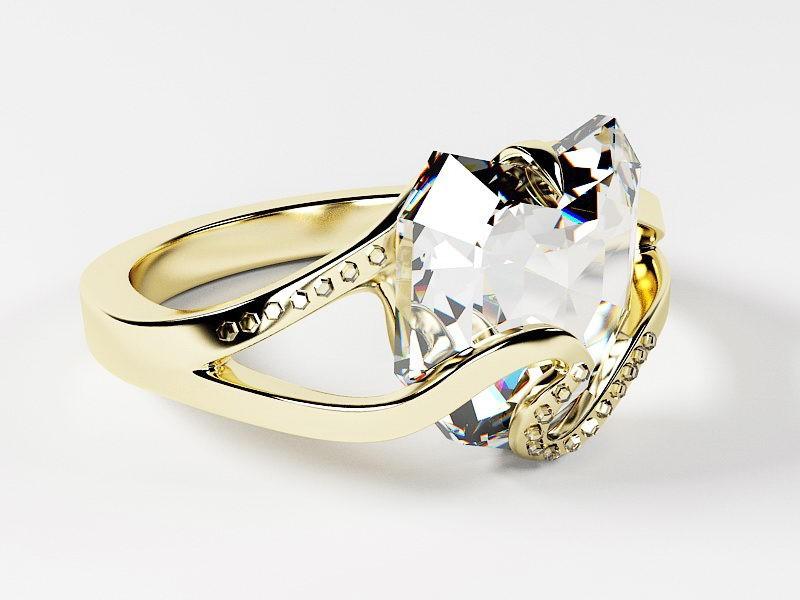 Heart Shaped Diamond Ring 3d rendering