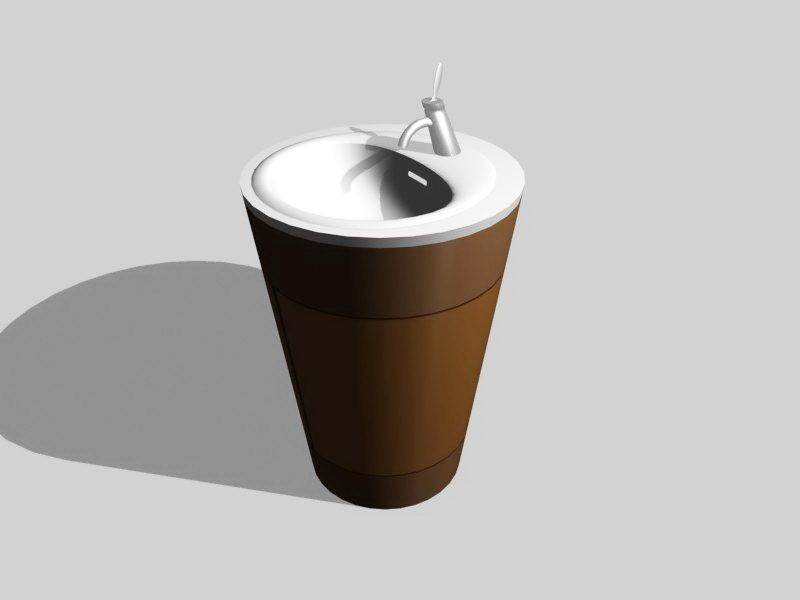 Pedestal Washbasin Design 3d rendering