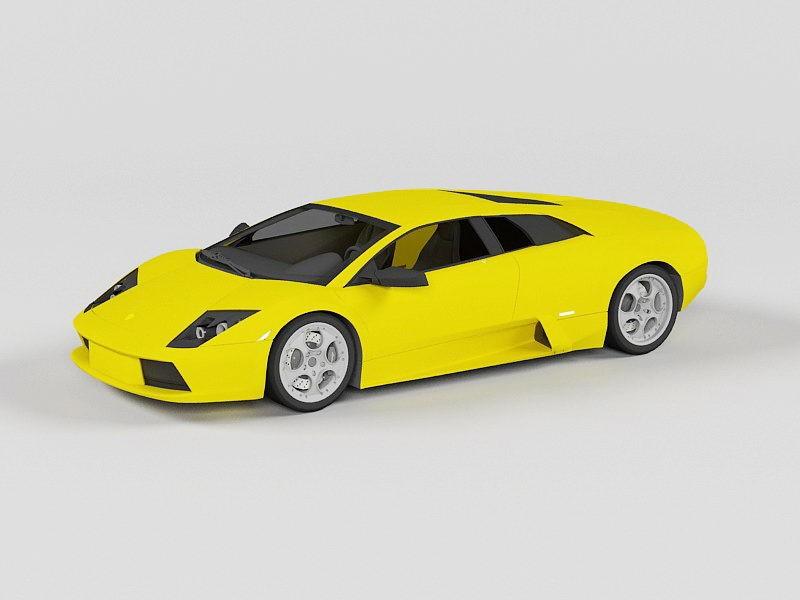 Yellow Lamborghini Gallardo Coupe 3d rendering