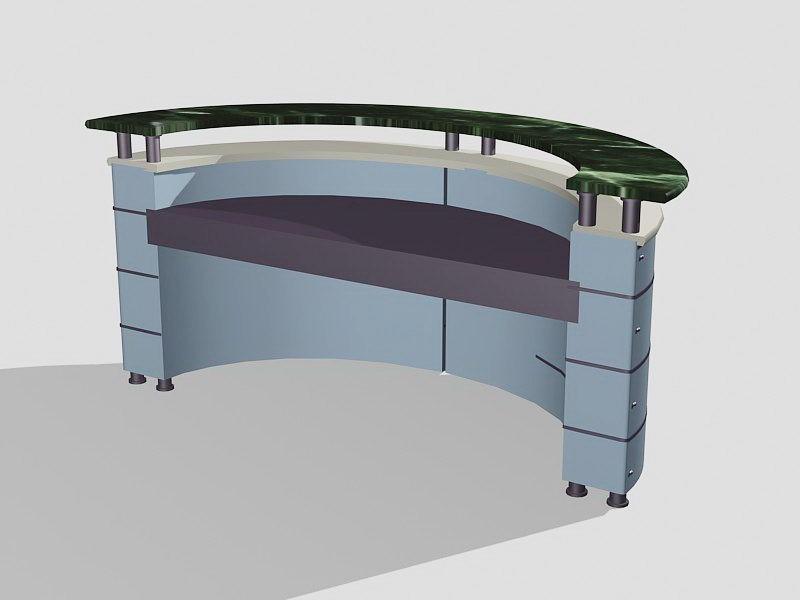 Curved Front Desk 3d rendering