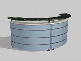 Curved Front Desk 3d model preview