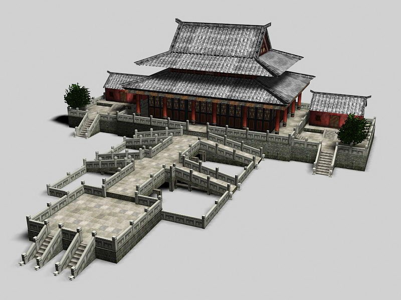 Ancient China Palace Architecture 3d rendering