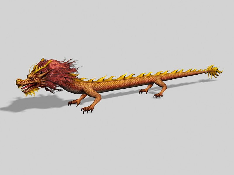 Ancient Chinese Dragon Creature 3d rendering