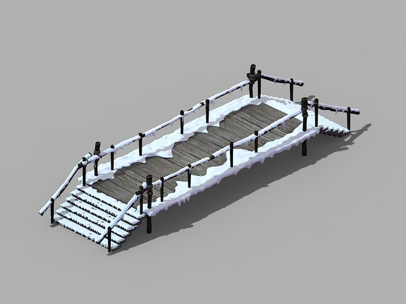 Snow Covered Bridge 3d rendering