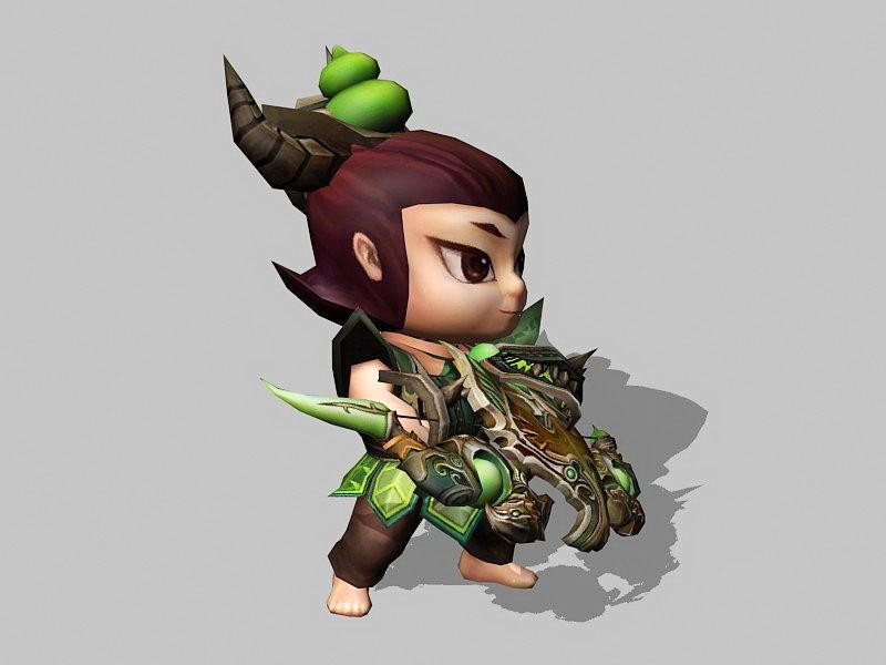Anime Hunter Boy 3d rendering