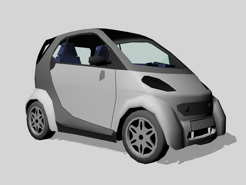 Grey Smart Car 3d rendering
