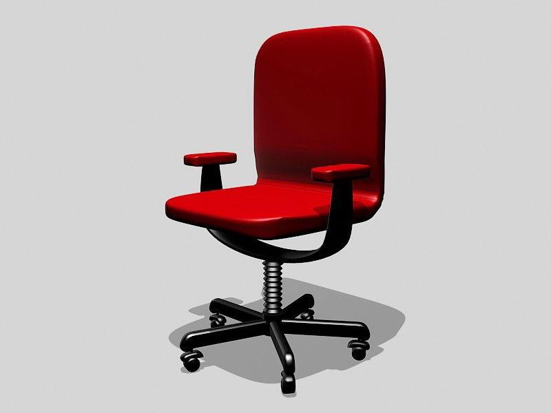 Red Desk Chair 3d rendering