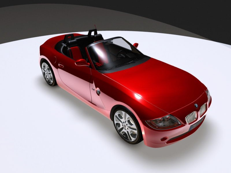 Red BMW Convertible 3d rendering
