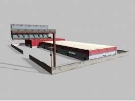 Industrial Warehouse Exterior 3d preview