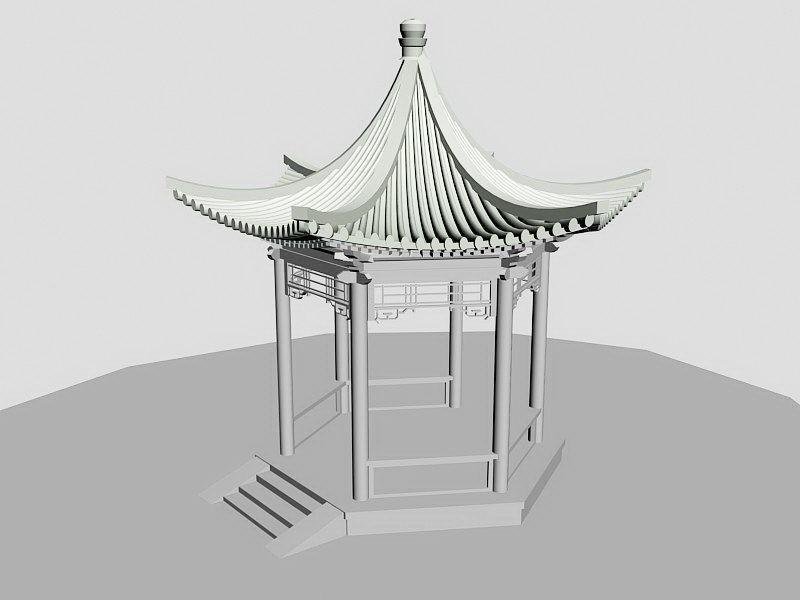 Chinese Hexagonal Pavilion 3d rendering