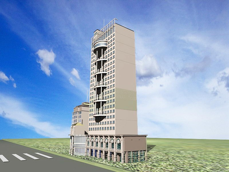 Modern Hotel Commercial Complex 3d rendering
