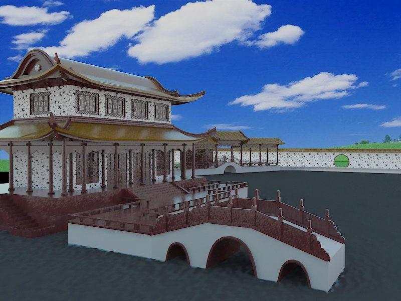 Chinese Garden Elements 3d rendering