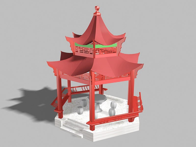 Chinese Pavilion Structural Design 3d rendering