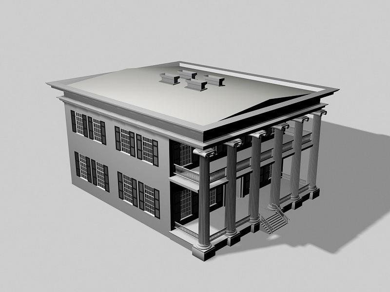 Colonial Mansion 3d rendering