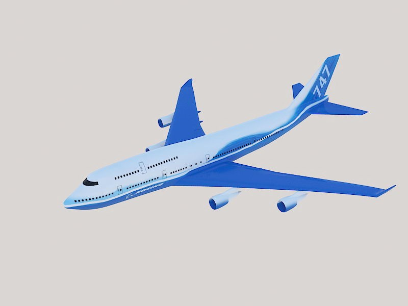 Boeing 747 Wide-body Airliner 3d rendering