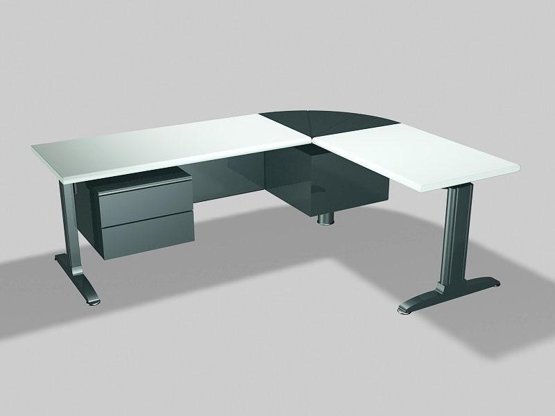 L-shaped Desks Workstations 3d rendering