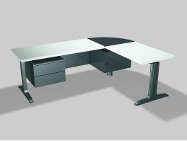 L-shaped Desks Workstations 3d preview
