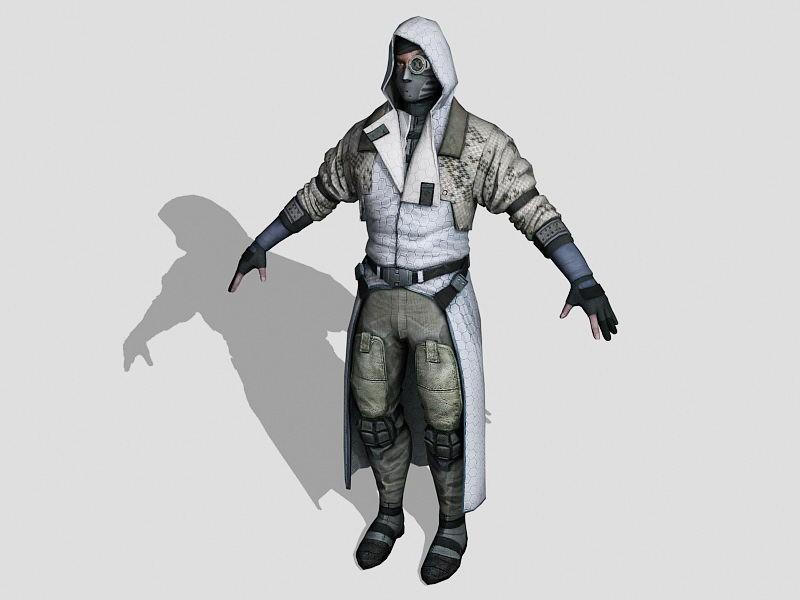 Steampunk Sniper 3d rendering