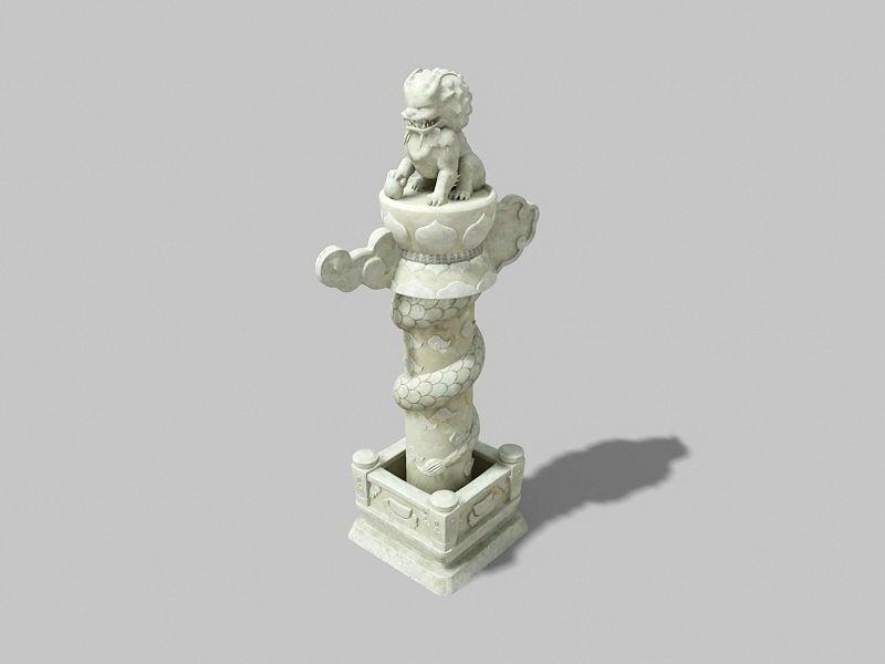 Lion Dragon Pillar 3d rendering