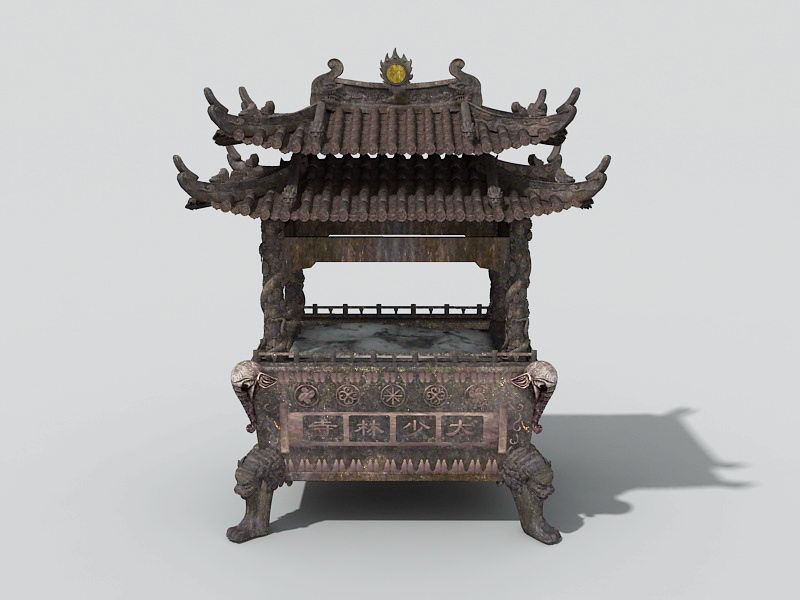 Large Chinese Censer 3d rendering
