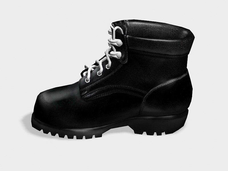 Black Ankle Boots 3d rendering