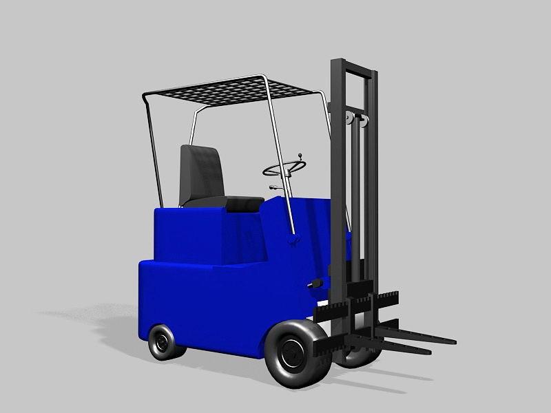 Blue Forklift 3d rendering