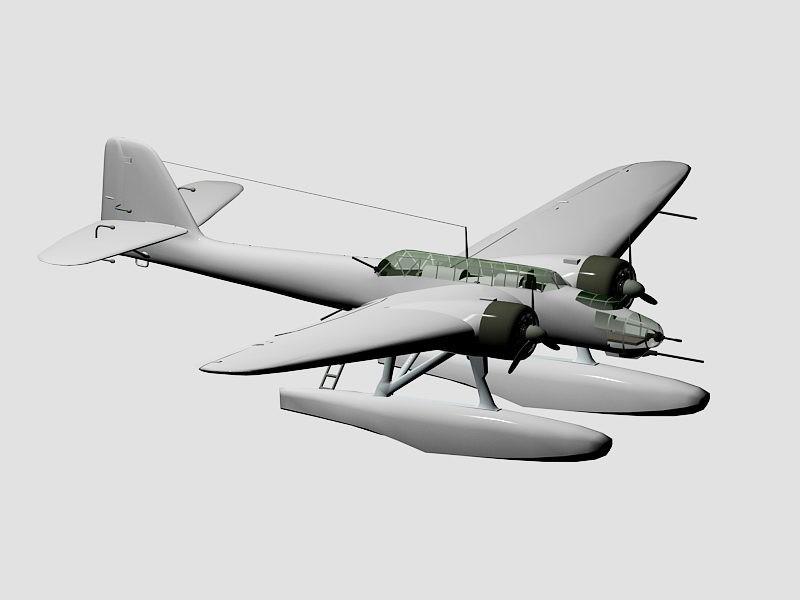 Heinkel He 115 Bomber Seaplane 3d rendering