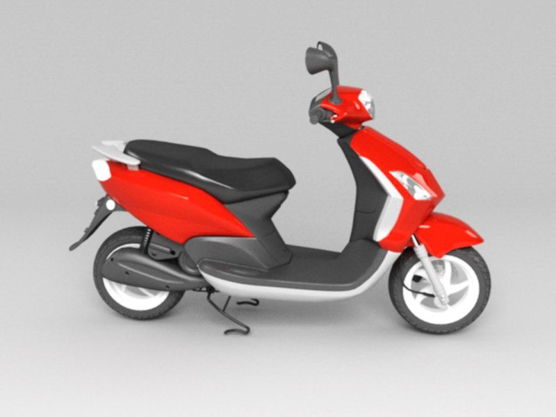 Red Moped Scooter 3d rendering
