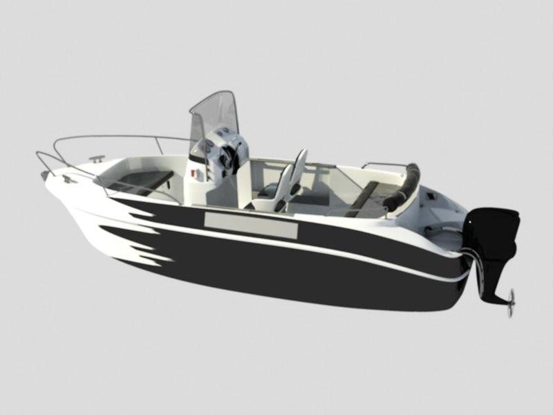 Open Motor Boat 3d rendering