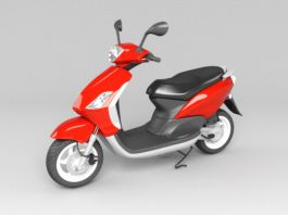 Red Moped Scooter 3d preview