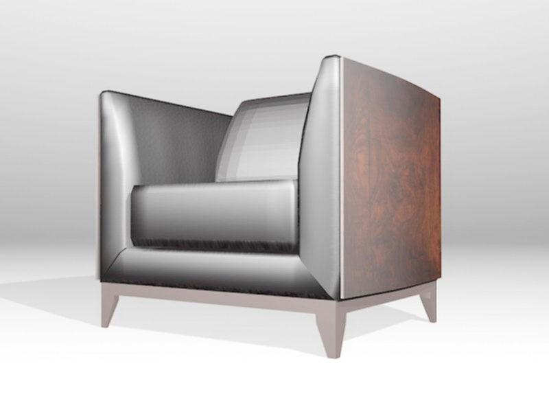 Vintage Black Leather Club Chair 3d rendering