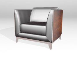 Vintage Black Leather Club Chair 3d preview