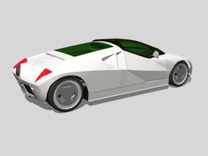 White Concept Car 3d rendering
