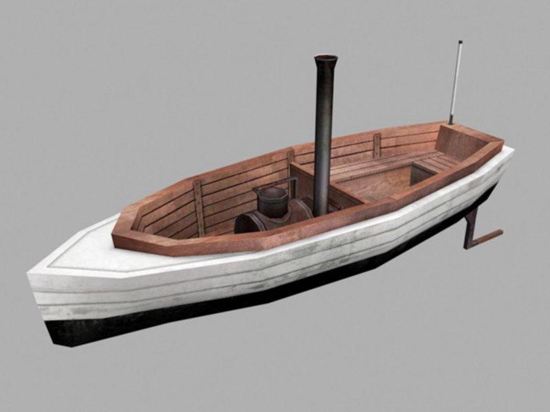 Launch Boat 3d rendering