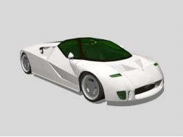 White Concept Car 3d preview