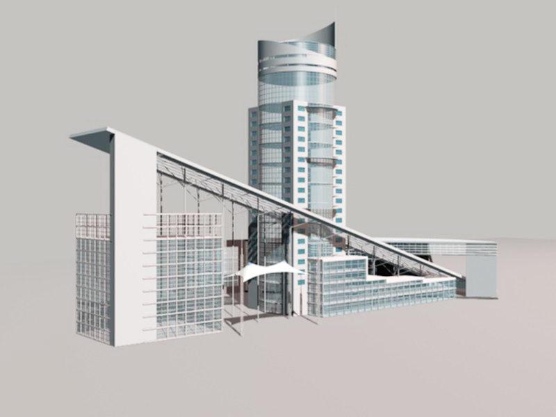 Modern Art Deco Buildings 3d rendering