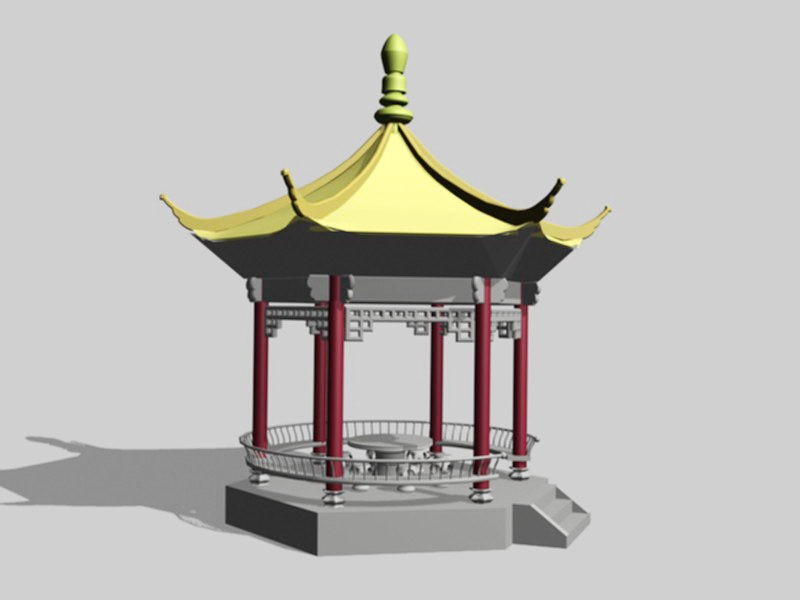 Traditional Chinese Pavilion 3d rendering