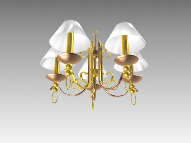 5-Arms Victorian Ceiling Lights 3d rendering