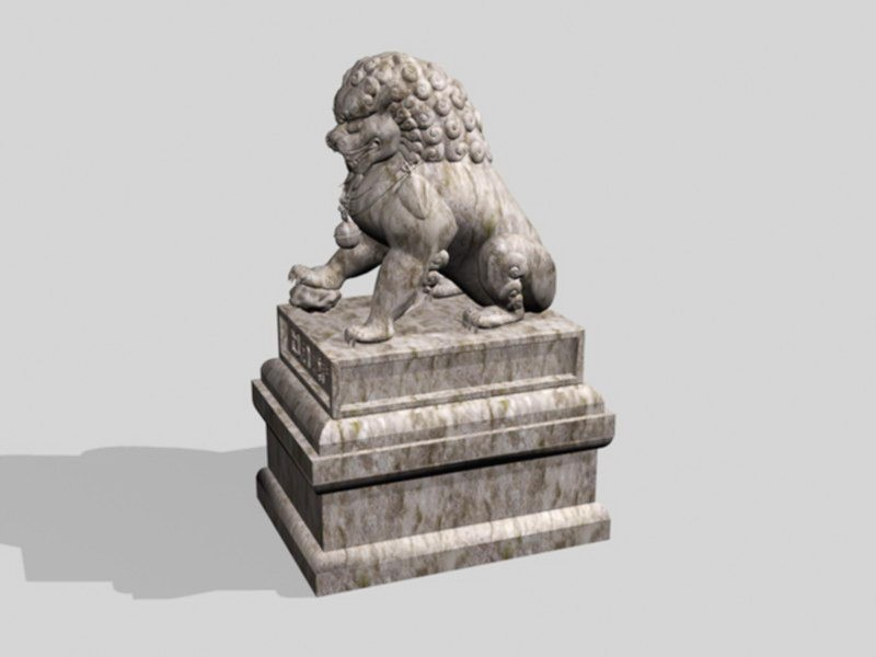 Stone Lion Statue 3d rendering